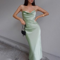 Green maxi dress with open back