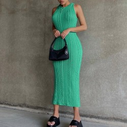 Green maxi wool dress