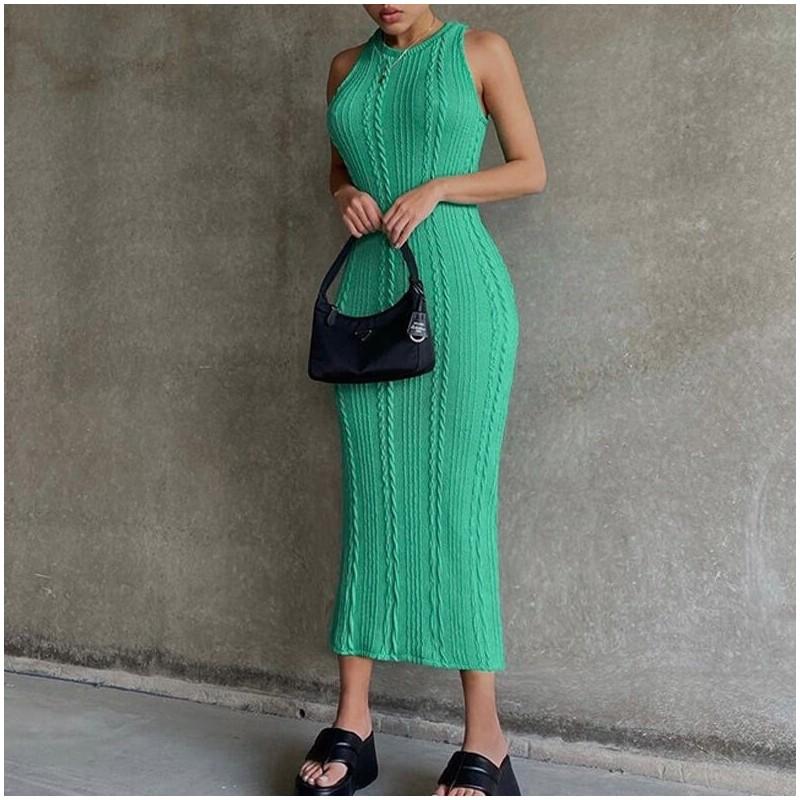 Robe longue en laine verte