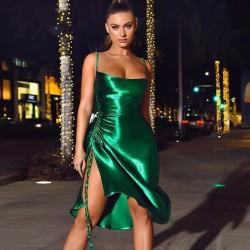 Split green satin dress