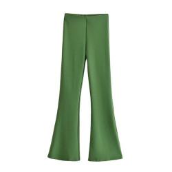 Green flare pants