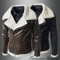 Leather lamb oblique zipper coat